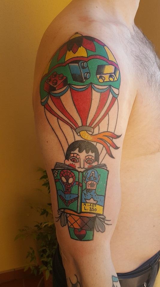 Tatuaggi Mongolfiera Old School