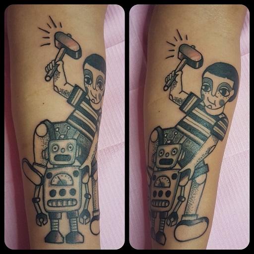 Tatuaggio Bambino e Robot