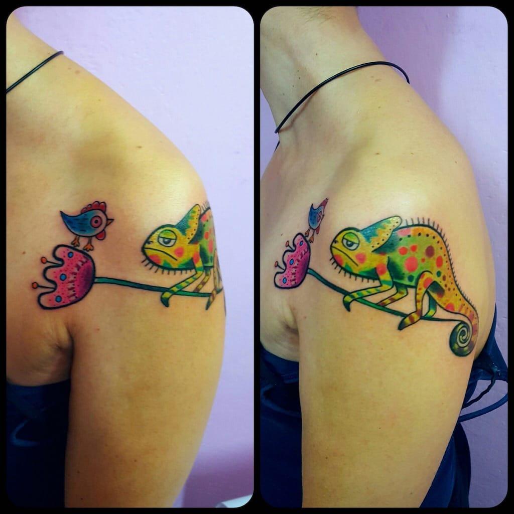 Tatuaggio camaleonte New School Modena