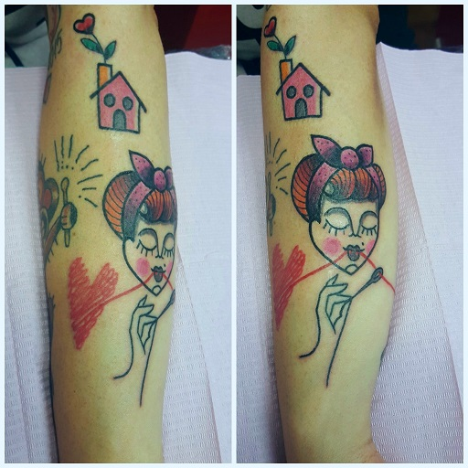 Tatuaggio cuore cucito Modena