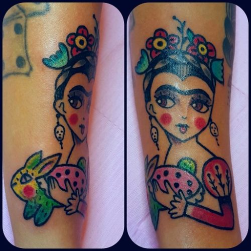 Tatuaggio Frida Kahlo Old School