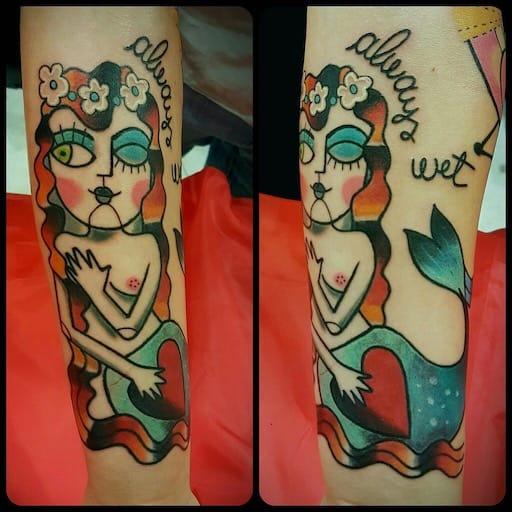 Tatuaggio sirena Old School